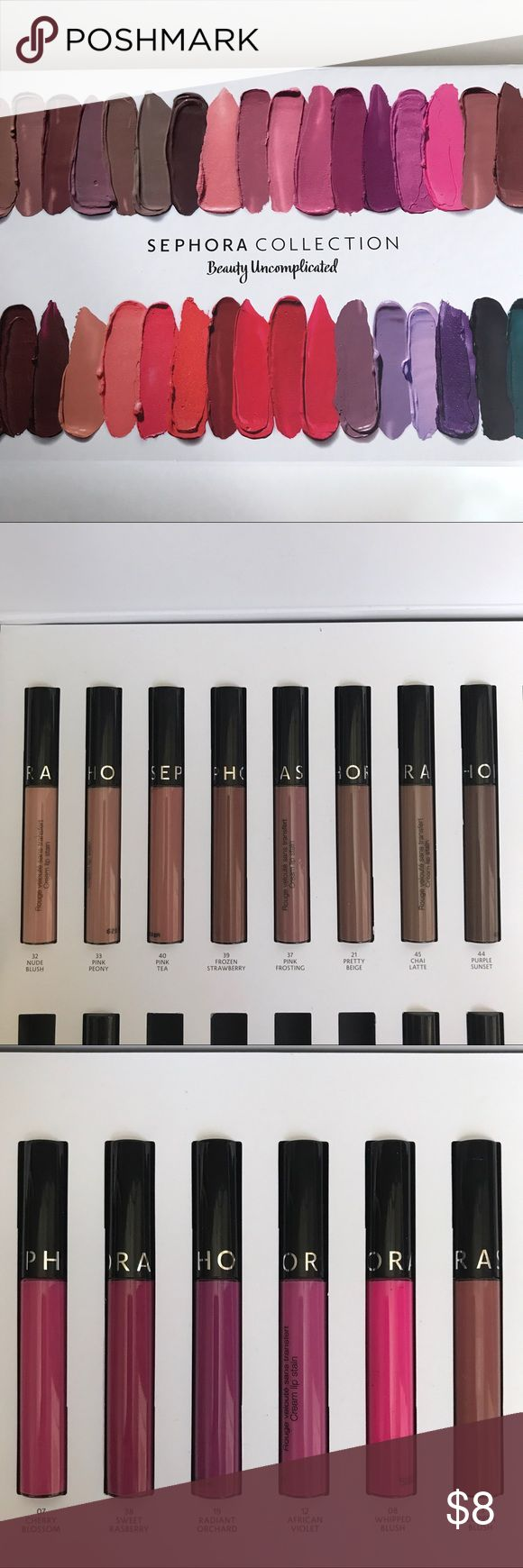 Sephora Cream Lip Stain Sephora Lip Cream Stain lip colors. I only have the colors photographed above available. Please let me know what color(s) you are interested in and I can make a separate listing for you! 3 for $20 or $8 each. ❌ colors no longer available: pretty beige ❌ Sephora Makeup Lipstick
