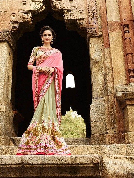 Light Green Georgette Saree with Zari,Resham Thread,Stone and Sequinces Work #bandbaajaa.com #bandbaajaa #weddingsarees #weddingsaris #bridalsarees #bridalsaris #designersarees #designersaris #sarees #saris #weddingwear #weddingshopping