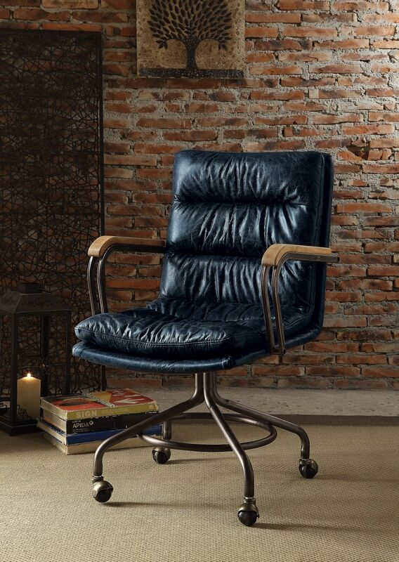 Acme 92417 Harith vintage blue top grain leather office
