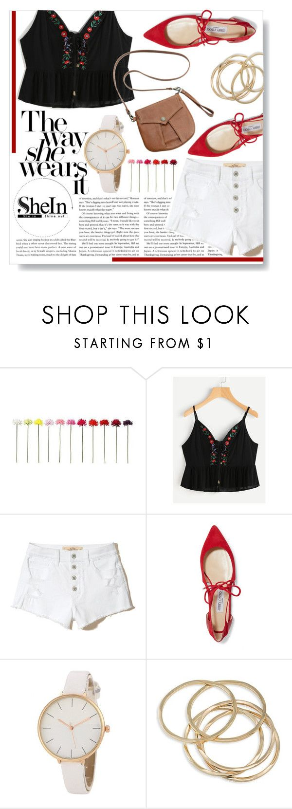 """""""to live is the rarest thing in the world, most people just exist."""" by lauradeluna ❤ liked on Polyvore featuring Hollister Co., Jimmy Choo, ABS by Allen Schwartz, Hayden-Harnett, Summer, shorts and shein"""