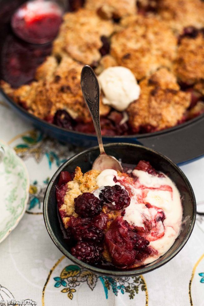 Blackberry Rhubarb Cobbler with Cornish Clotted Cream