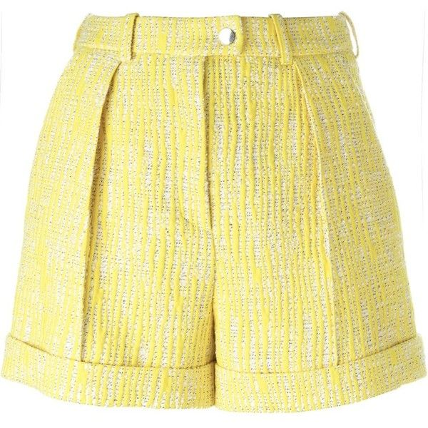 Carven Tweed Shorts (28.440 RUB) ❤ liked on Polyvore featuring shorts, yellow shorts and tweed shorts