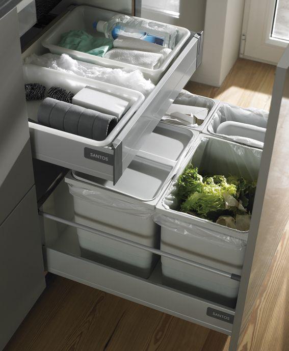 SANTOS cubos de basura. La estudiada distribución interior, cajones y los completos equipamientos de nuestros muebles de cocina se convierten en la seña de identidad de nuestros productos.