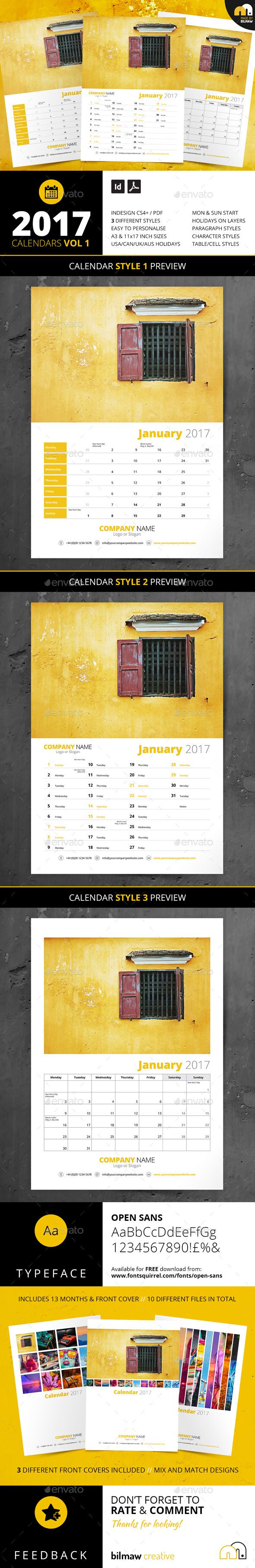 Calendars Vol 1 | Calendars Vol 2 | Customizable Template | Branding | Photography promotion | 2017 CALENDARS VOL 2 | 3 Styles // A3 & 11×17 inch (Tabloid) Versions