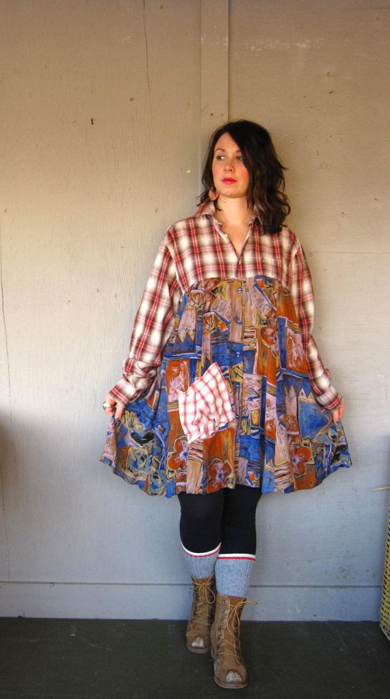 Romantic Patchwork dress upcycled clothing Eco Tattered top up cycled dress Lagenlook tunic Artsy shirt Bohemian dress  X large 1X