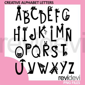 Creative Alphabet Letters Clip Art monogram silhouette - A to Z. A super fun design to decorate teacher worksheet. Also fun for wall decor, and for making teaching materials for kids.A great commercial use clipart collection for pre-K, K, and first grade.