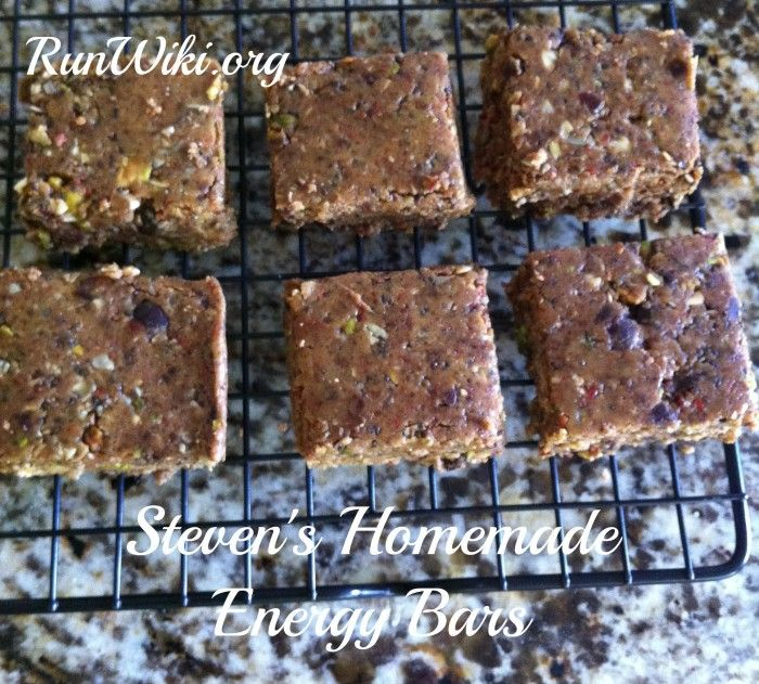 Steven's Homemade energy bar recipe: I feel I should warn you, these are healthy but not low in calories, so if you are watching those, keep your portion size small.