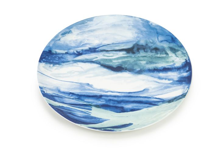Jenny – fine bone china tableware representing Allen's watercolour techniques. 5% of all proceeds from the sale of the collection will be donated to Macmillan Cancer Support in dedication of Jenny Johnson. Dishwasher and microwave safe. Made in Stoke on Trent, England 34cmø