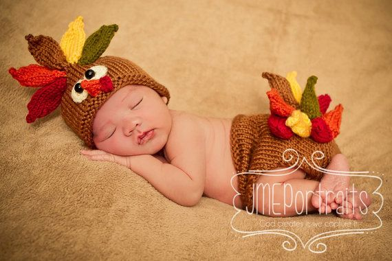 Baby Turkey Hat and Matching Diaper Cover by AdorableBabyCreation
