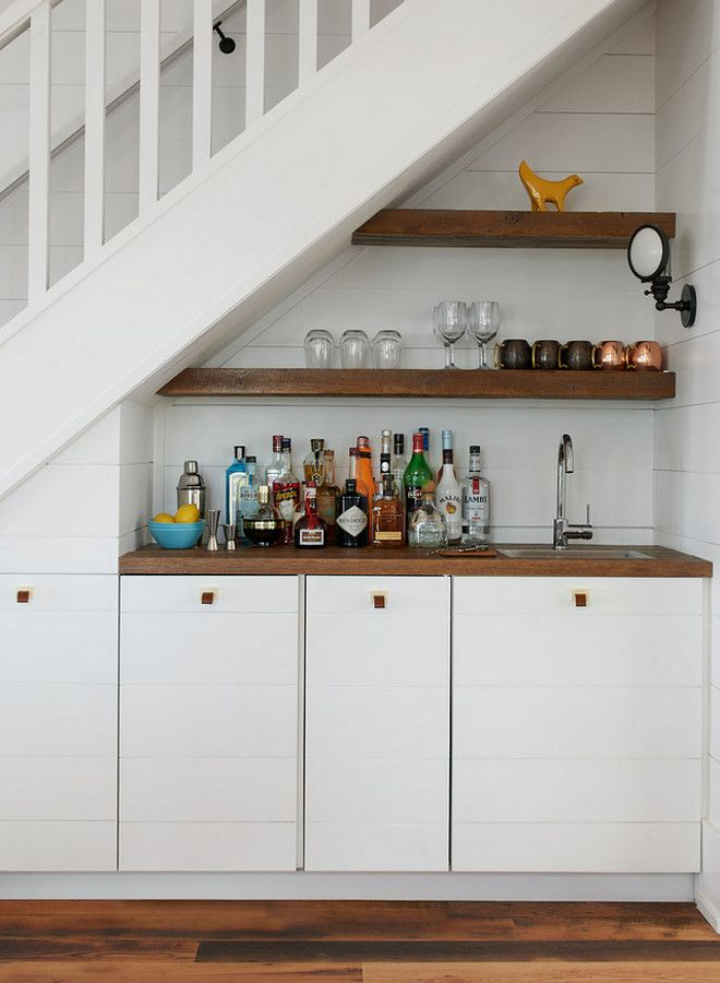 Example of ship lap cabinets. Not sure if I like this on these more narrow cabinets fronts
