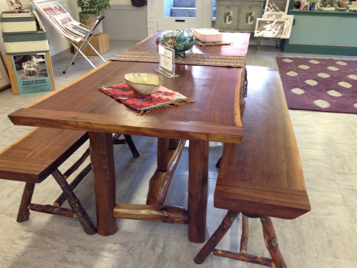 Solid Walnut Table and benches. $3,900.00, via Etsy.