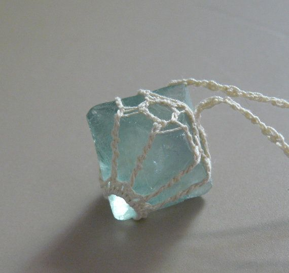 Cubic Fluorite Crocheted Necklace  Soft GREEN by TheTreeFolkHollow, $38.00