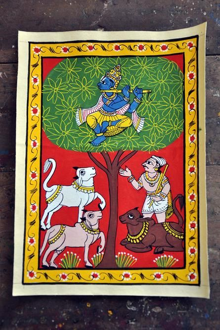 A Cheriyal painting showing a scene where lord Krishna, attracted by cows for his flute's tunes.