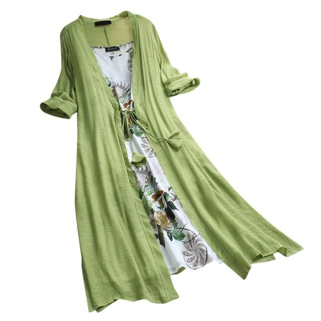 Spring summer women long linen dress plus size two pieces o-neck maxi dresses loose bohemian dresses for women 2019