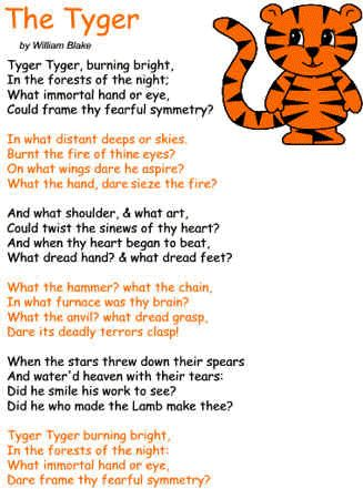 "an analysis of william blakess poem the tyger When i read the poem ""the tyger"" by william blake i was immediately intrigued by the vocabulary used in the poem and how every word in the poem has an analogical meaning."
