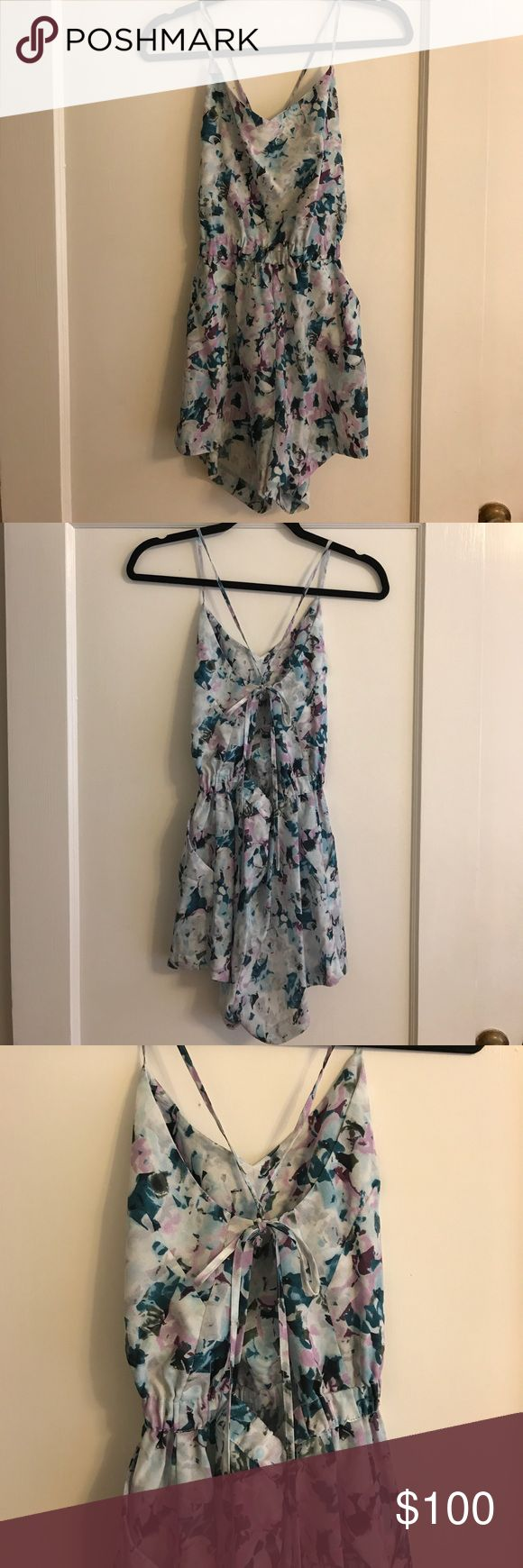 Parker NY Floral Romper Multi Floral romper with back exposed and tie back strap, pockets Parker Other