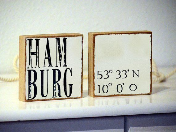2 Set-your City AND YOUR Coordinates-Decoration signs, Wooden Murals, Personalized according to your Desire, City, country, name – Maritime Geschenkideen