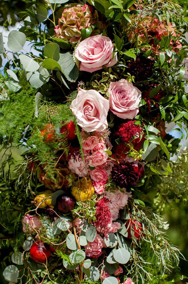 Garden Inspired Floral Arch with Apples, Plums and Pears