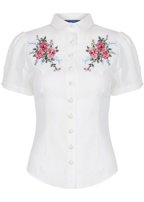 Collectif Wendy romantic floral blouse ivoor wit ivory white