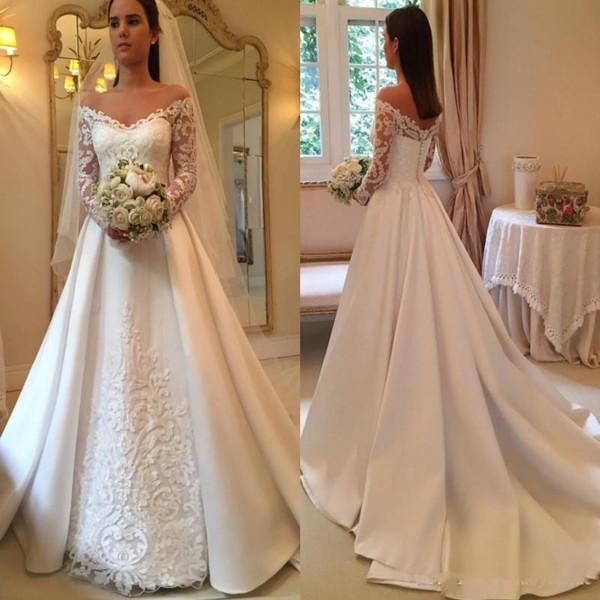 Discount 2019 Country Wedding Dresses A Line Off Shoulder Long Sleeve Sweep Train Bridal Gowns With Lace Applique Satin Plus Size Wedding Gowns Princess Wedding Dresses Red Wedding Dresses From Apollo_bridal, $163.82| DHgate.Com