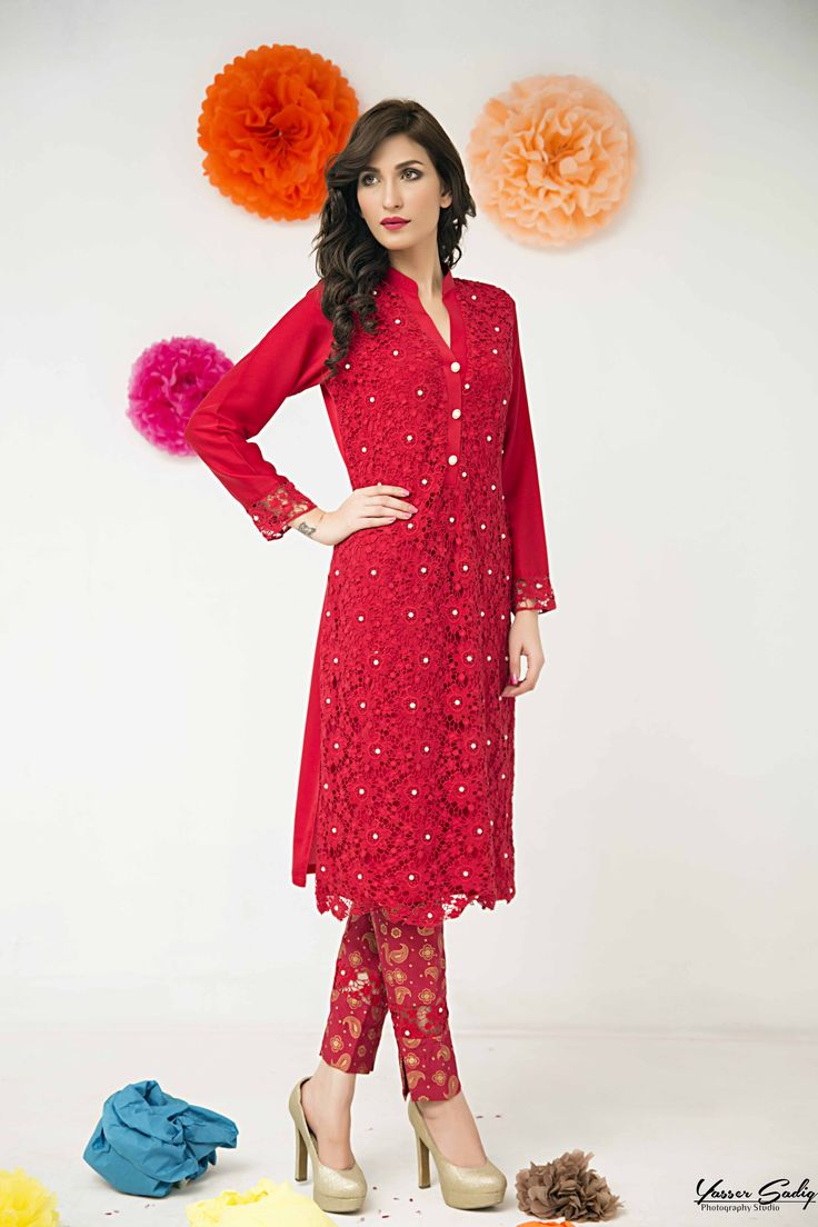 Pakistani Designer Dresses - Lowest Prices - Exclusive Red Dress with Pearls attached by Zainab Hasan - Latest Pakistani Fashion