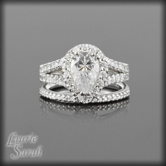 Beautiful and affordable! Pear Cut CZ Engagement Ring with Diamond by LaurieSarahDesigns, $3136.50