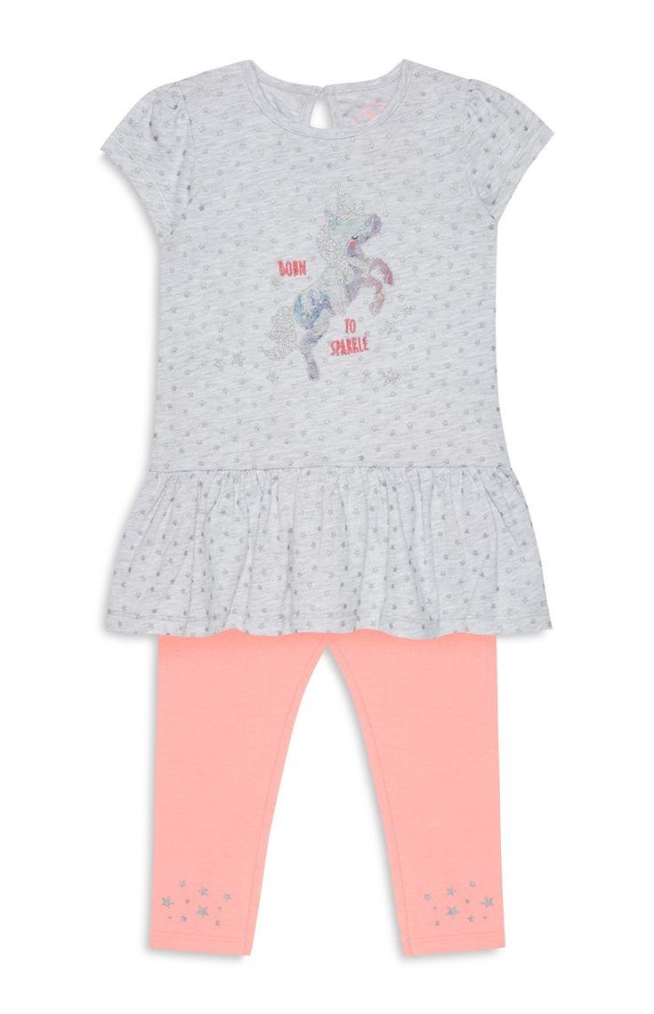 Grijs-roze babyset met legging, meisjes