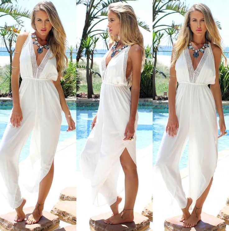 Sexy Deep V-Neck Backless Chiffon Summer Beach White Jumpsuit UK 6-16 UKSTOCK in Clothes, Shoes & Accessories, Women's Clothing, Dresses | eBay