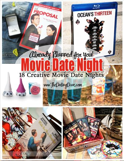 "{18 Movie Date Nights already planned for you!}  Creative ideas to spice up the good 'ole ""dinner & a movie."" www.thedatingdivas.com  #movies #datenight"