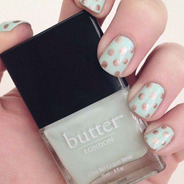 Polka dots nails featuring Fiver and Champers by butter LONDON