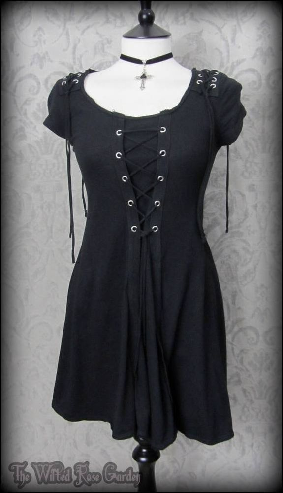 Goth Black Lace Up Corset Panel Tunic Top Mini Dress 10 Alternative Gothic Metal | THE WILTED ROSE GARDEN