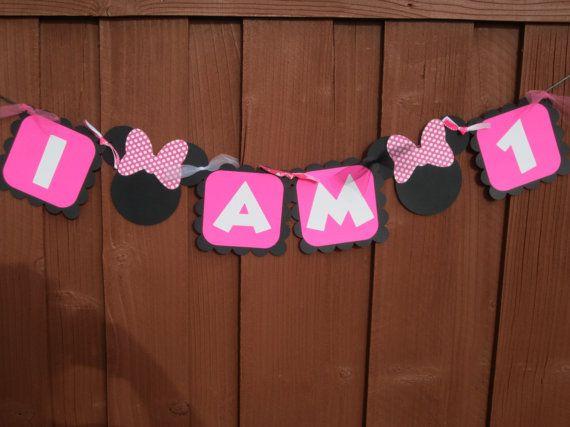 Minnie Mouse High Chair Banner  I AM 1  by LittleBirdiPaperShop