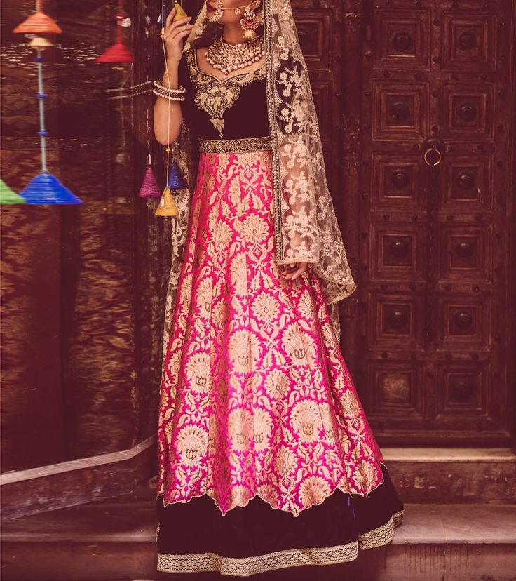 Pink And Black Zardozi Banarasi Silk Lehenga Set