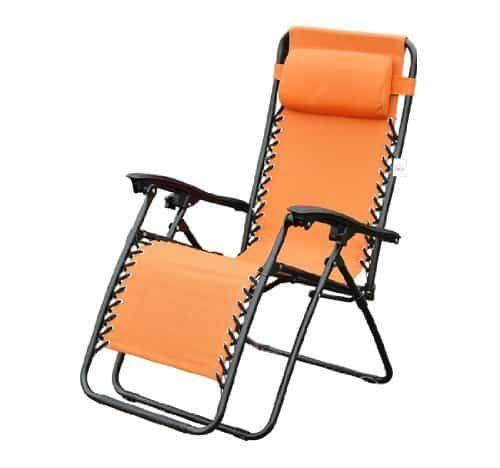 Outsunny Zero Gravity Recliner Lounge Patio Pool Chair Orange