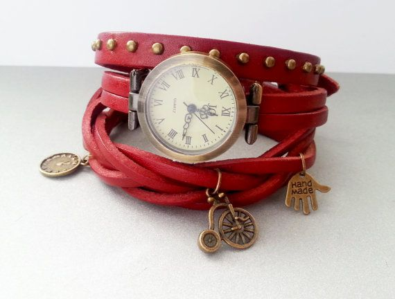 Purple scarlet leather long strap watch wrap by MKedraHandmade, $28.00
