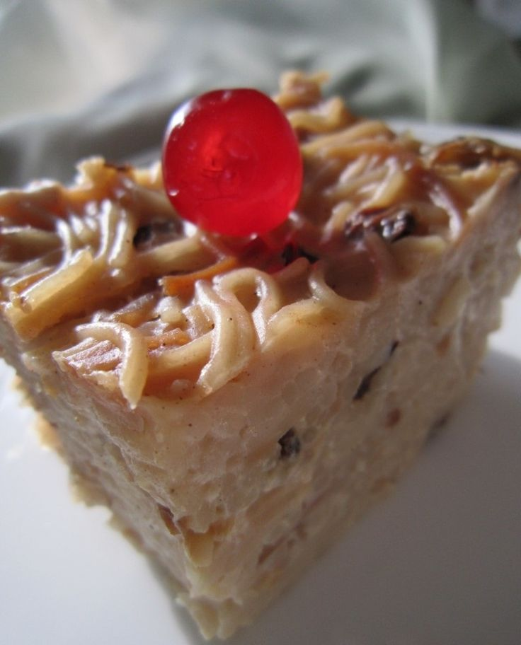 This is a sweet delicious noodle cake. (raisins traditionally is added to this dish) and can be topped with cherries and it is easy to prepare. Ingredients: 12 ounces of vermicelli noodles (1 pack)...