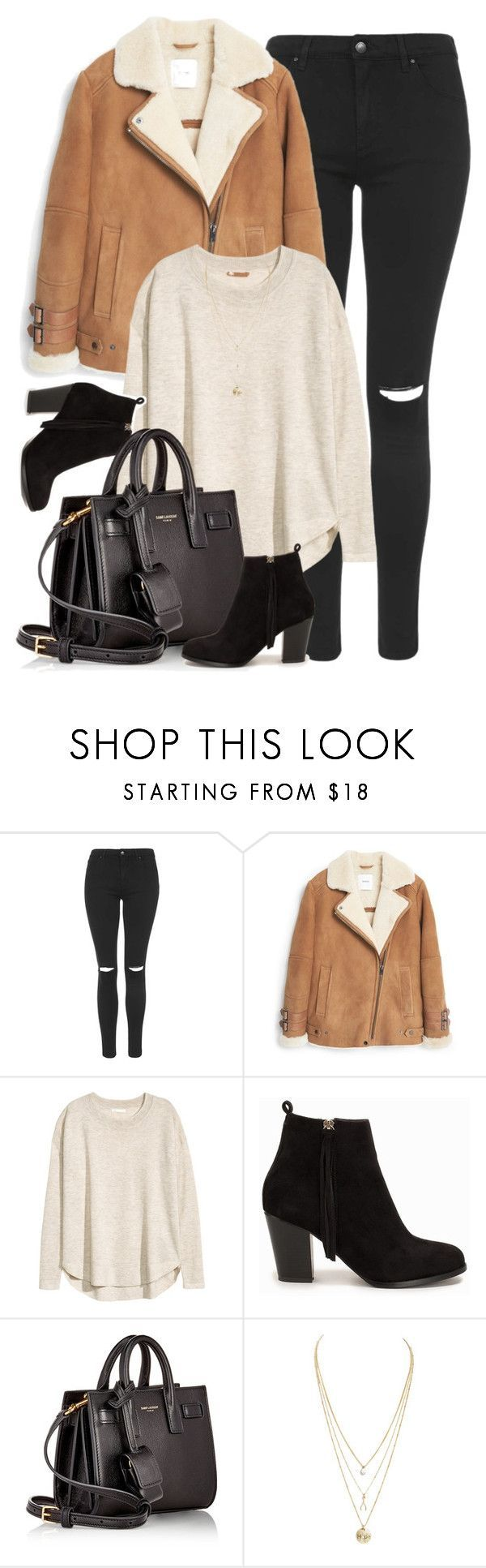 """What I'd Wear"" by monmondefou ❤ liked on Polyvore featuring Topshop, MANGO, H&M, Nly Shoes, Yves Saint Laurent, Fall, black and brown"