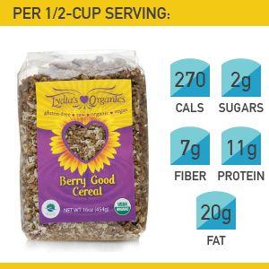 16. Lydia's Organics Berry Good Cereal #cereal #breakfast https://greatist.com/health/best-healthy-cereal-brands