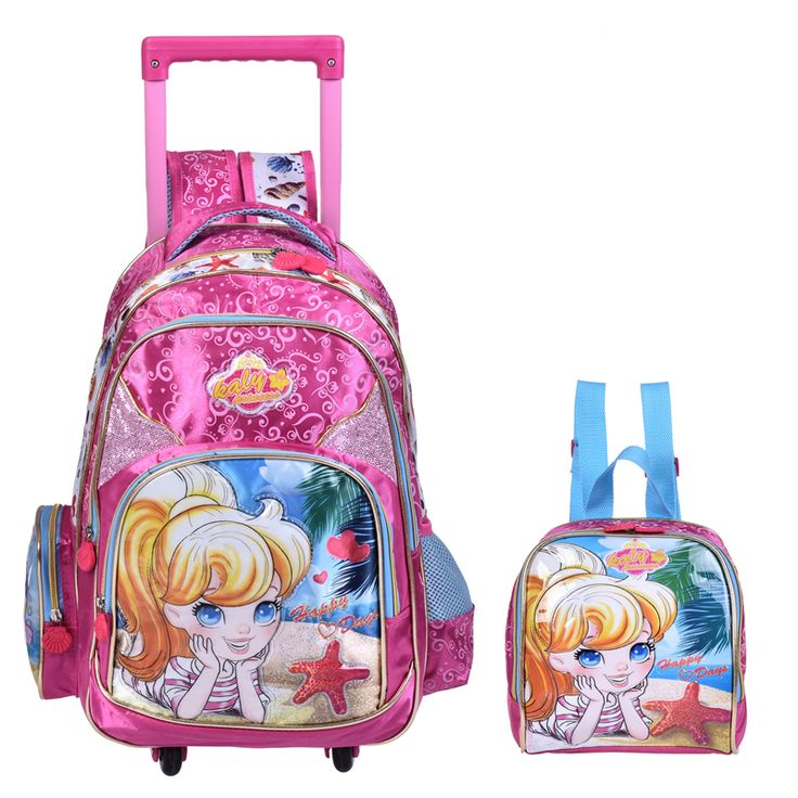 new design Kids school bags sets With Wheel Trolley school bag set Luggage school backpack set for boys and girls