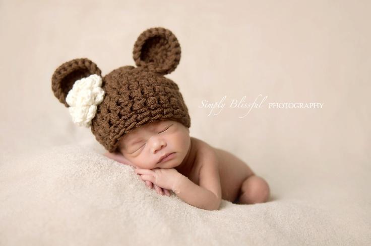 Crochet Newborn Bear Beanie via Etsy.: Photo Props, Newborn Photos, Baby Photos, Crochet Newborn, Photography Props
