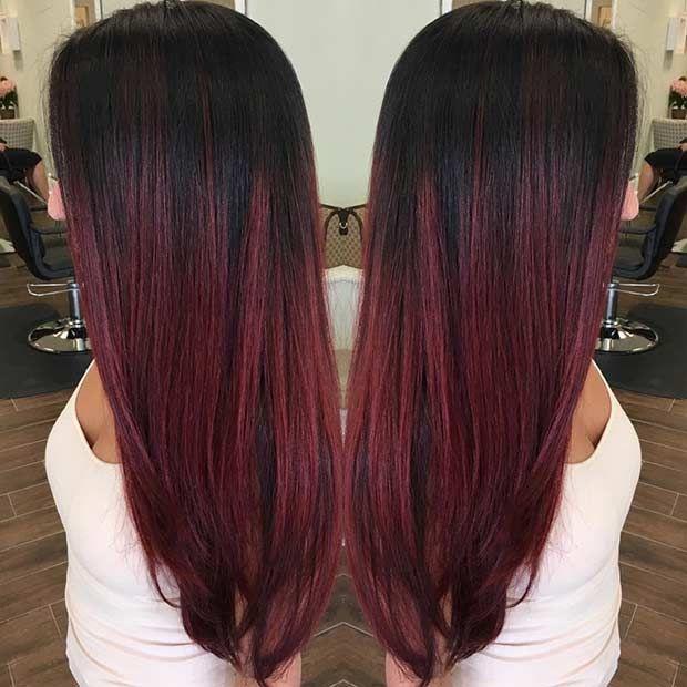 Dark Cherry Red Highlights For Brunettes Haircolor Hair Color Black Red Ombre Hair Ombre Hair Color Hair Color Red Ombre
