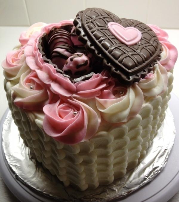 Valentine candy box cake.