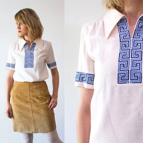 70s hippie blouse. needlepoint blouse. by retrospectrovintage