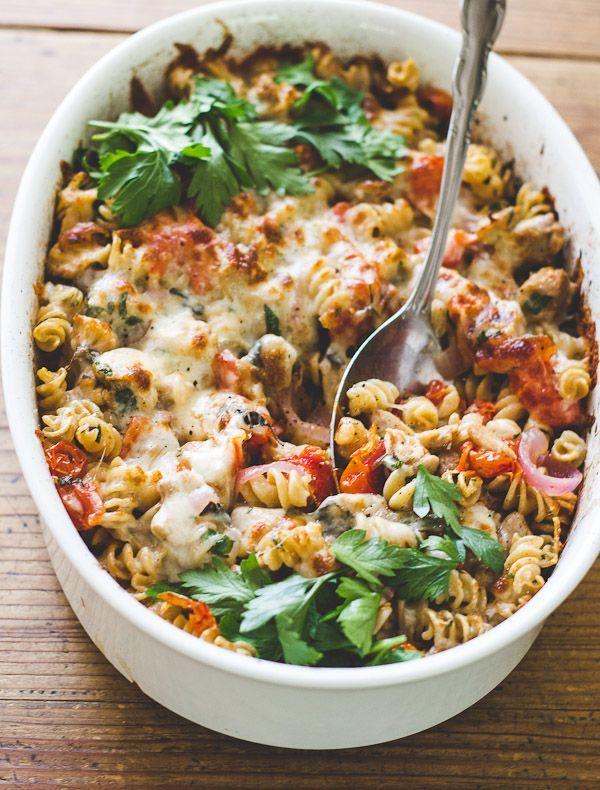 Mediterranean Chicken + Pasta Bake