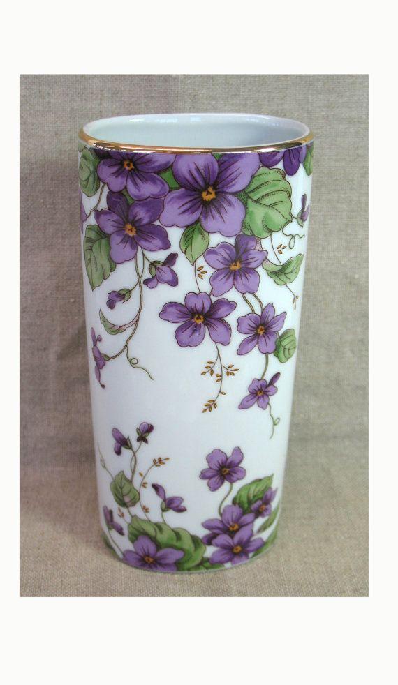 Violets Vase Porcelain Vase Lefton China Gold by MicheleACaron