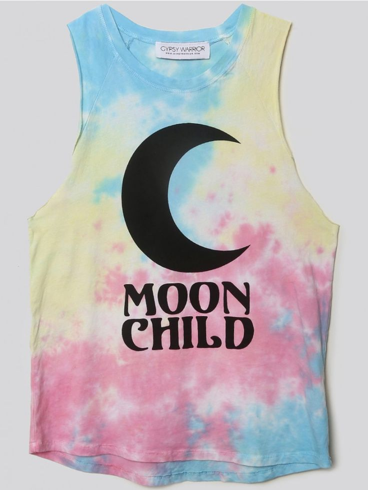 """GYPSY WARRIOR Stand out in a crowd of all-black outfits. This tie-dye muscle tank features large, raw-cut armholes, and a large crescent moon with """"MOON CHILD"""" printed on the front."""
