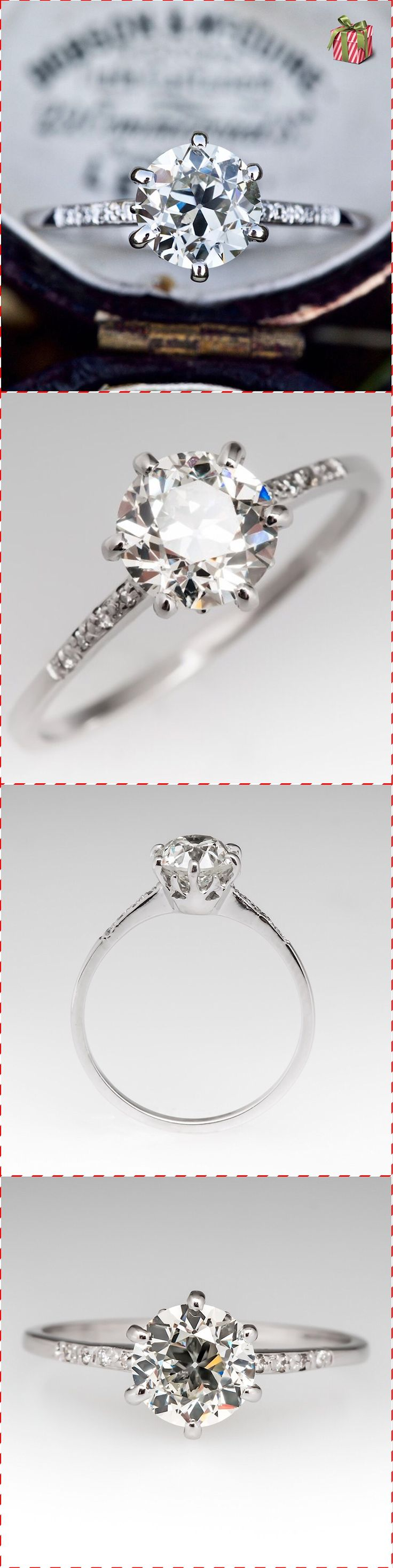Old european cut elegant diamond solitaire ring in platinum and 18k - This Elegant Vintage Engagement Ring Is Crafted Of Platinum And Set With A 1 09 Carat Old European Cut Center Diamond With 4 Diamonds On Each Shoulder