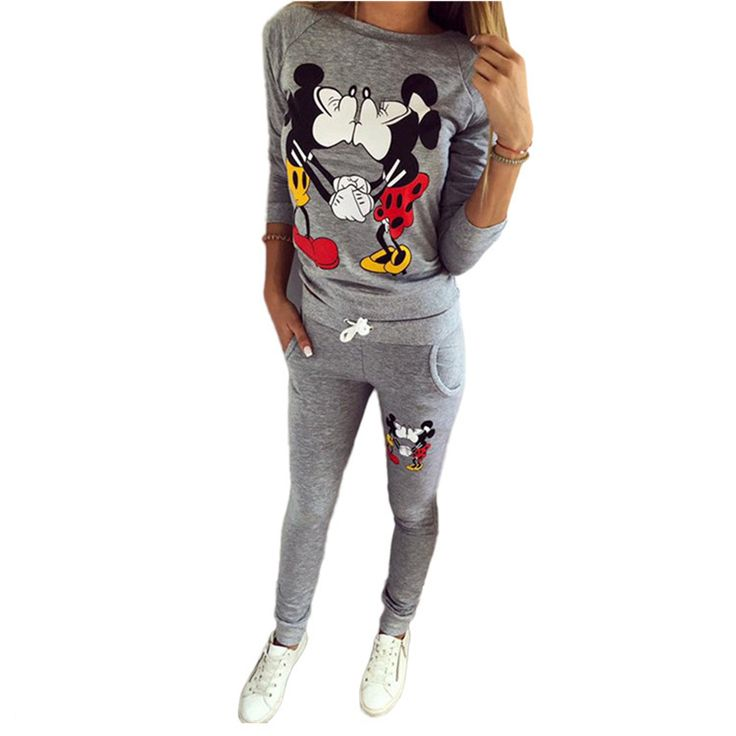 >> Click to Buy << Kawaii Cartoon Mickey Printed Women Set Long sleeve Funny T shirt+Sweatpants 2 Piece set Femme Casual Pullover Hoodies Tops z5 #Affiliate