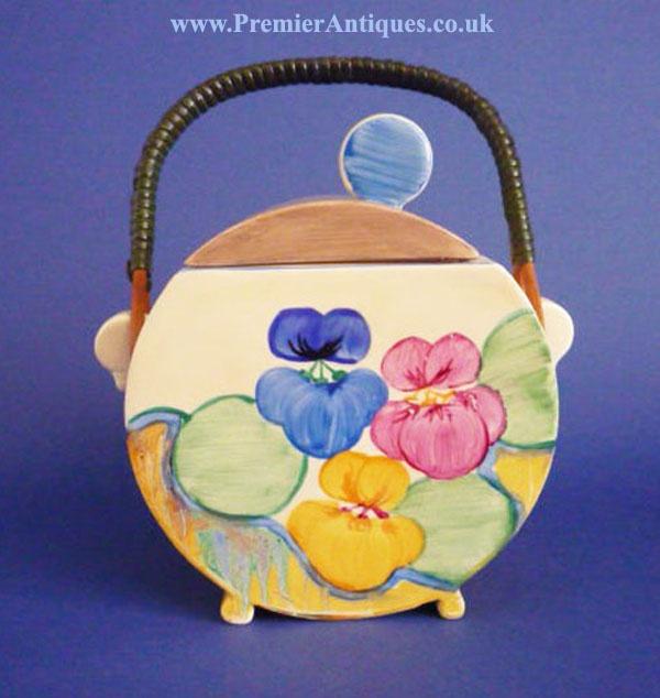Premier Antiques: April 2012Clarice Cliff Bizarre 'Pansies' Bon Jour biscuit barrel c1933