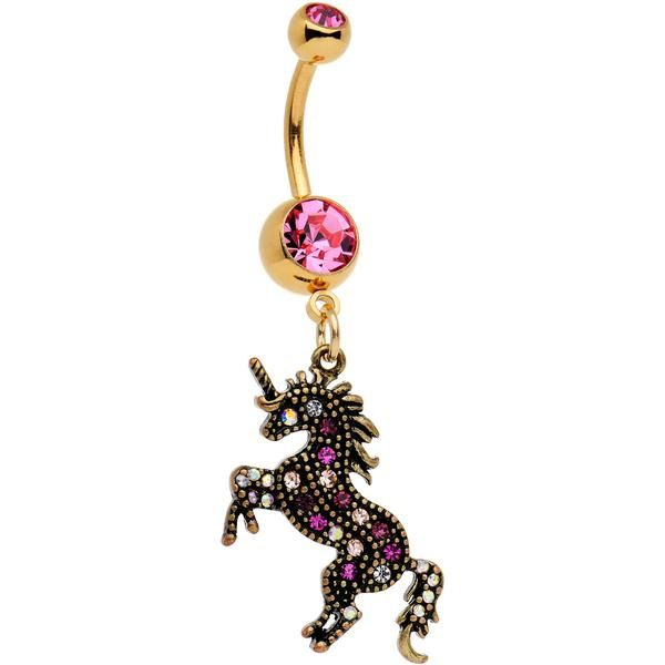 Pink Gem Gold Pvd Toy Unicorn Dangle Belly Ring In 2019 Piercings